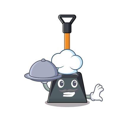 Illustration pour cartoon design of snow shovel as a Chef having food on tray. Vector illustration - image libre de droit
