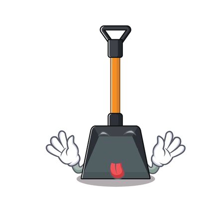 Illustration pour Cute snow shovel cartoon mascot style with Tongue out. Vector illustration - image libre de droit