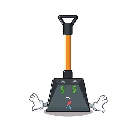 Illustration pour Happy rich snow shovel with Money eye cartoon character style. Vector illustration - image libre de droit