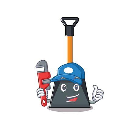 Illustration pour Cool Plumber snow shovel on mascot picture style. Vector illustration - image libre de droit