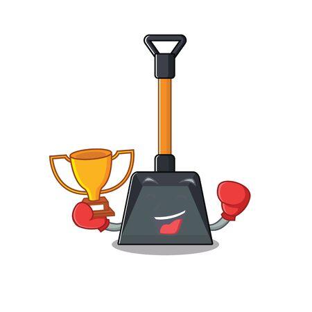 Illustration pour fantastic Boxing winner of snow shovel in mascot cartoon style. Vector illustration - image libre de droit