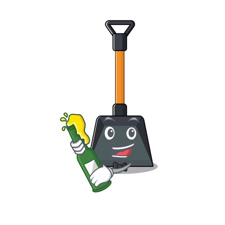 Illustration pour mascot cartoon design of snow shovel with bottle of beer. Vector illustration - image libre de droit