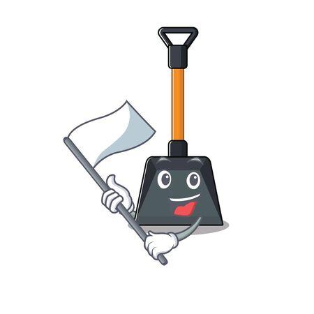 Illustration pour Funny snow shovel cartoon character style holding a standing flag. Vector illustration - image libre de droit