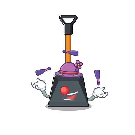 Illustration pour Smart snow shovel cartoon character design playing Juggling. Vector illustration - image libre de droit