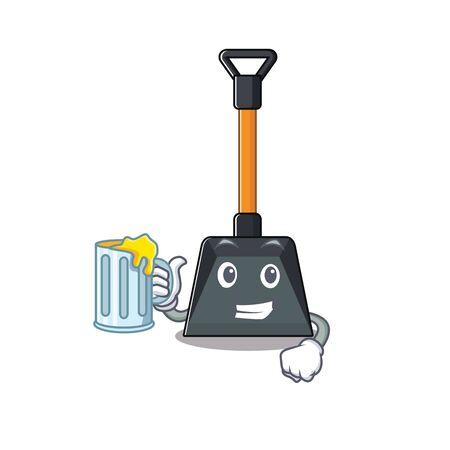 Illustration pour Happy snow shovel mascot design with a big glass. Vector illustration - image libre de droit