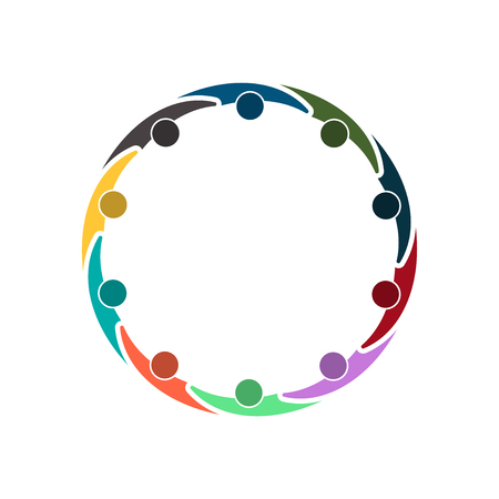 Illustration for Group of ten people in circle holding hands. - Royalty Free Image