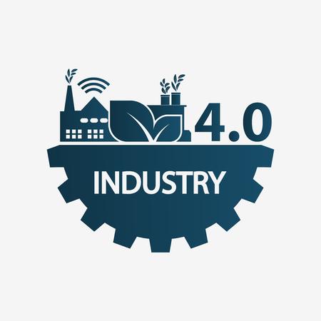 Ilustración de Industry 4.0 icon,logo factory,technology concept.vector illustration - Imagen libre de derechos