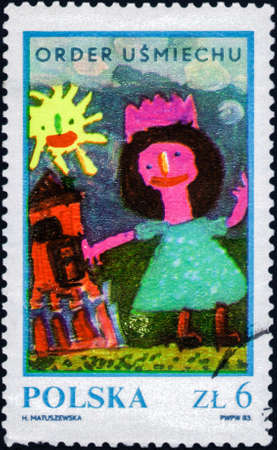 Foto de Saint Petersburg, Russia - February 20, 2020: Stamp issued in the Poland with the image of the Girl Near House, circa 1983 - Imagen libre de derechos