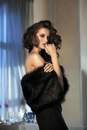 Beauty woman wearing fur