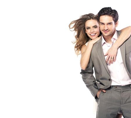 Photo pour Loving young couple laughing and posing - image libre de droit