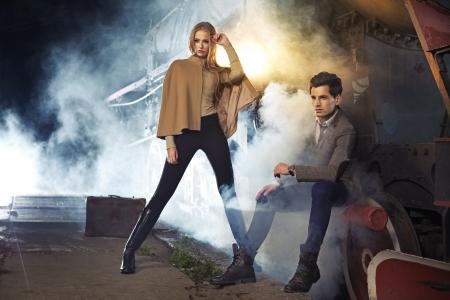 Foto für Fashion photo of two models next to the engine - Lizenzfreies Bild