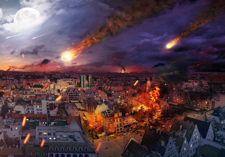 Photo pour Apocalypse caused by a giant meteorite - image libre de droit