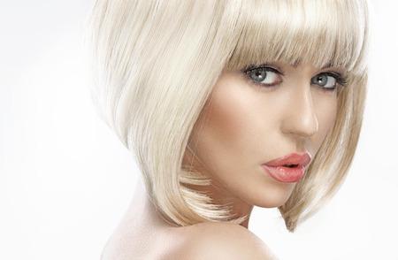 Photo pour Closeup portrait of an adorable blond lady - image libre de droit