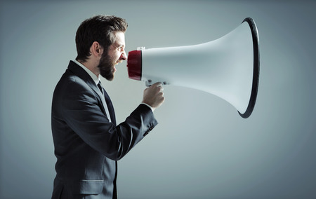 Photo for Conceptual photo of manager yelling over the megaphone - Royalty Free Image