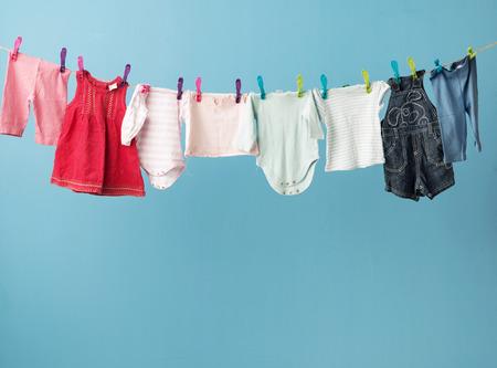 Photo pour Wet todler's clothes getting dry - image libre de droit