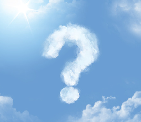 Foto de Flossy cloudlet in the form of question mark - Imagen libre de derechos