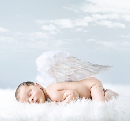 Photo for Portrait of a little baby as an innocent angel - Royalty Free Image