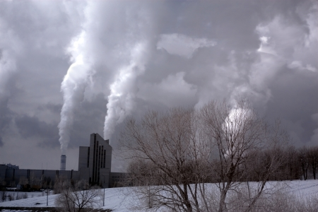 Bad Ecology with Smokestack Polluting the Air causing global warming with CO2 Gas