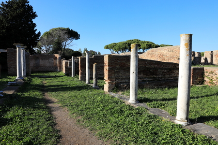 Photo for Remains of Ancient Ostia town built on both the sea and the Tiber river near Rome, Italy - Royalty Free Image