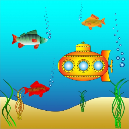 Photo pour Yellow submarine under water surrounded by fish and sea grass - vector - image libre de droit