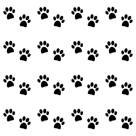 Background with black paw prints - vector