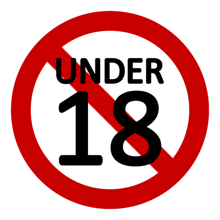 Illustration pour 18 age restriction sign on white background. Vector illustration. - image libre de droit