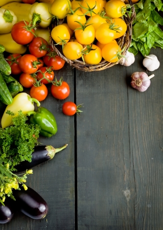 Photo pour abstract design background vegetables on a wooden background - image libre de droit