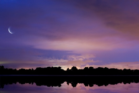 Photo for background sky reflected in water at night - Royalty Free Image