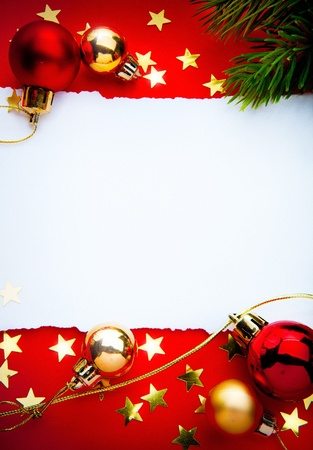 Design a Christmas greeting with a paper on a red background