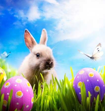 Photo for art Little Easter bunny and Easter eggs on green grass  - Royalty Free Image