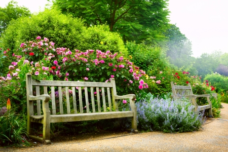 Foto de Art bench and flowers in the morning in an English park - Imagen libre de derechos