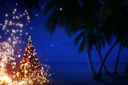 Photo for Art Christmas in Hawaii with Palm Trees and Stars - Royalty Free Image