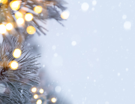 Photo for snowy christmas tree light - Royalty Free Image