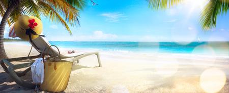 Foto de Beach chair and hat on sand beach. Concept for rest relaxation holidays spa resort. - Imagen libre de derechos