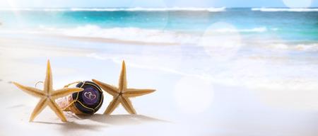 Photo pour art wedding or honeymoon tropical beach party - image libre de droit