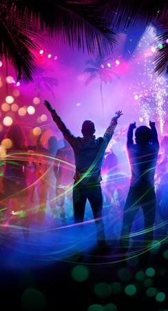 Photo pour Art tropical night beach party - image libre de droit