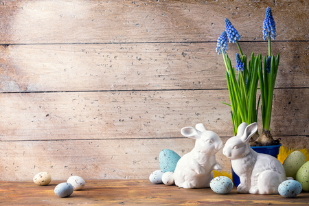 Photo for art Happy Easter Day; family Easter bunny and Easter eggs - Royalty Free Image