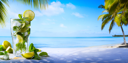 Photo for tropic summer vacation; Exotic drinks on blur tropical beach background - Royalty Free Image