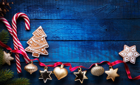 Foto de Christmas holidays ornament flat lay; Christmas card background    - Imagen libre de derechos