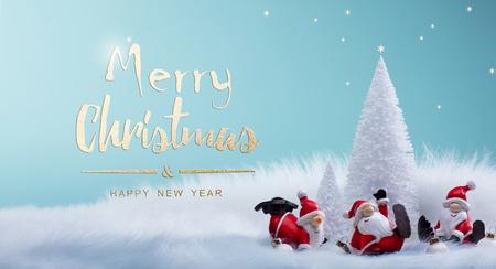 Photo pour Christmas tree and holidays Santa decoration ornaments - image libre de droit