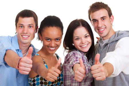 smiley young people showing thumbs up. isolated on white