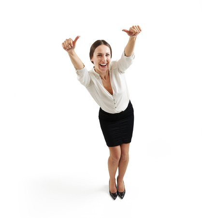 Foto de view from above of laughing businesswoman in formal wear with thumbs up over light grey background - Imagen libre de derechos