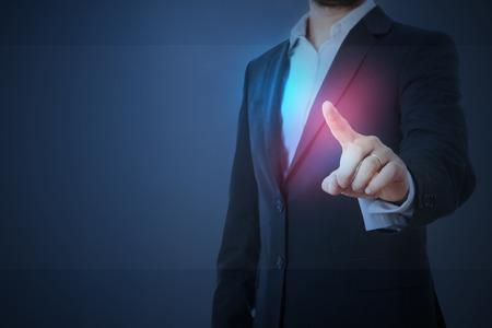 Photo pour man in formal wear touching empty virtual glass over dark blue background - image libre de droit