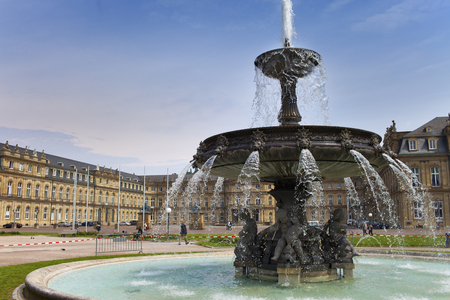 Photo for the fountain on Stuttgart Castle Square in the city center in Germany, Stuttgart - Royalty Free Image