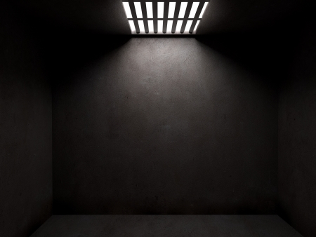 Foto de Dark prison cell with concrete walls and open cieling - Imagen libre de derechos