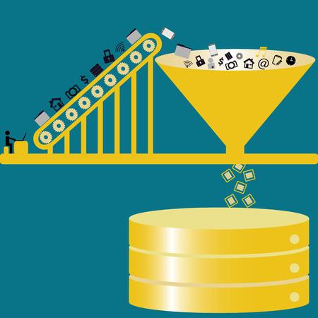 Illustration pour Big data technology managing datas from public to database - concept ideas with vintage color - image libre de droit