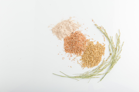 Foto de Three variety of rice: wild rice, red rice, and white rice. Shallow DOF - Imagen libre de derechos
