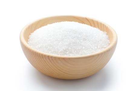 Foto per white sugar in a wooden bowl - Immagine Royalty Free