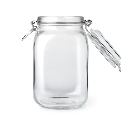 Photo for Opened empty glass jar isolated on a white background - Royalty Free Image