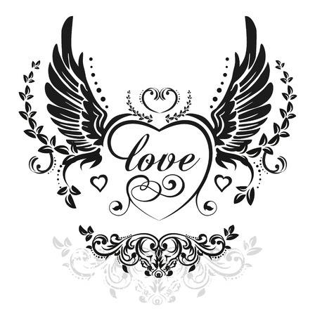 Illustration for Black wings with decorative heart and leafs, illustration isolated on white - Royalty Free Image
